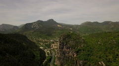 France Countryside Aerial over Castellane area panning right Stock Footage