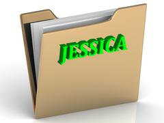 JESSICA- bright green letters on gold paperwork folder on a white background - stock illustration