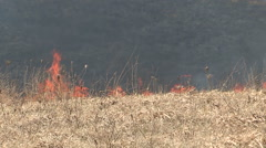 Firefighters battle grass and brush wildfire Stock Footage