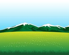 Stock Illustration of Glade with flower in mountain