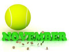 NOVEMBER- bright green letters, tennis ball, gold money on white background - stock illustration