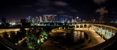 Singapore Night Skyline From Marina Barrage - stock photo