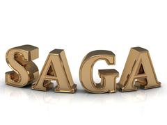 SAGA - bright gold bend letters on a white background - stock illustration