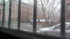 New York Brooklyn Winter Intersection through Window Stock Footage