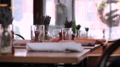 Restaurant Interior in Brooklyn - Tables Glassware Snow Outside Stock Footage
