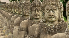 Zoom Out of Warrior Statues Stock Footage