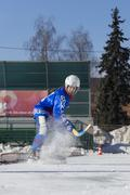 Stock Photo of RUSSIA, OBUKHOVO - JANUARY 10, 2015: 2-nd stage children's hockey League bandy