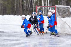 Stock Photo of RUSSIA, KOROLEV - JANUARY 15, 2015: 3-d stage children's hockey League bandy