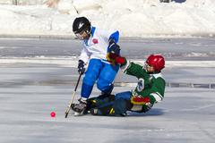 Stock Photo of RUSSIA, KRASNOGORSK - MARCH 03, 2015: final stage children's hockey League bandy