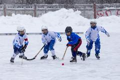 RUSSIA, KOROLEV - JANUARY 15, 2015: 3-d stage children's hockey League bandy Kuvituskuvat