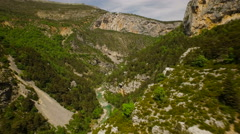 France Countryside Aerial through canyon over river in Rougon area Stock Footage