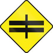 Divided Highway Intersection Ahead In Ireland Stock Illustration