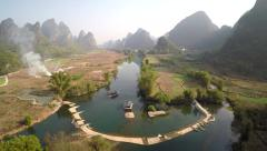 Yangshuo above Yulong river - stock footage