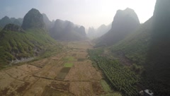 Drone flight above Yangshuo Karst Landscape Valley Stock Footage