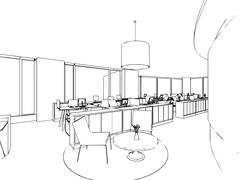 interior office outline drawing sketch - stock illustration