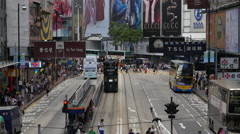 Time Lapse / Zoom Bus Trolley Pedestrian Traffic in Central Hong Kong Stock Footage