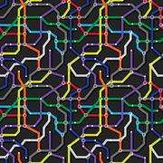 Colorful metro scheme on dark gray background. Abstract seamless vector eps8  Stock Illustration