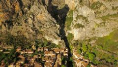 France Countryside Aerial low backwards out of canyon and over Moustiers - stock footage