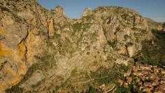 France Countryside Aerial low over Moustiers town panning right - stock footage