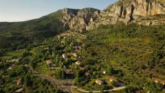 France Countryside Aerial low over Moustiers town area panning left Stock Footage
