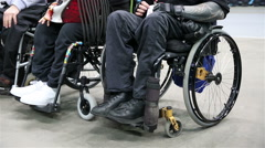 Legs disabled people in wheelchairs. Stock Footage