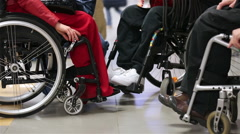 People with disabilities in wheelchairs. Stock Footage