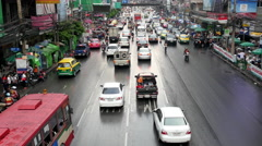 Stock Video Footage of Time Lapse of Traffic in Downtown Bangkok After Rainstorm