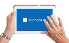 Tablet computer with Windows 10 logo.  - stock photo