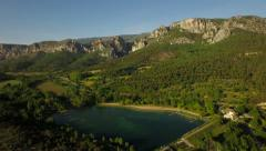 France Countryside Aerial low over Moustiers-Saint-Marie area panning right - stock footage