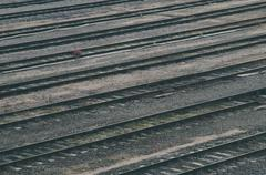 Old railroad tracks at train station, transportation infrastructure Stock Photos