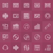DJ outline icons set - stock illustration