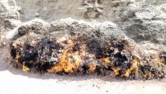 Yanar Dag - burning mountain. Azerbaijan. - stock footage
