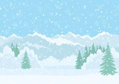 Christmas landscape, night winter forest - stock illustration