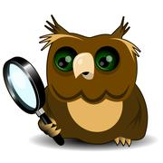 Stock Illustration of Owl with a magnifying glass