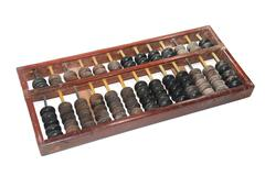 Old abacus isolated on white background Stock Photos