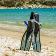 Summer Beach Travel Holiday accessories for snorkeling , fins, mask and snork - stock photo