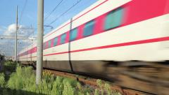 Fast speed Train Transit at About 145 km/h of Velocity Stock Footage