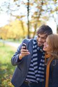 Selfie of sweethearts - stock photo