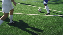 A soccer player makes a goal and the team jumps up and down and celebrates - stock footage