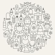 Christmas New Year Holiday Line Icons Set Circular Shaped Stock Illustration