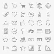 Line Online Shopping and Commerce Icons Big Set Stock Illustration