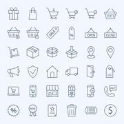Stock Illustration of Line Shopping and E-commerce Icons Set