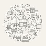 Shopping and E-commerce Line Icons Set Circular Shaped - stock illustration