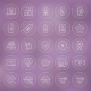 Line Circle Shop Market E-commerce Icons Set Stock Illustration