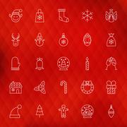 Christmas New Year Thin Line Icons Set Stock Illustration