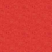 Thin Line Holiday Christmas Red Seamless Pattern - stock illustration