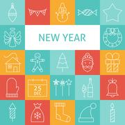 Vector Line Art Modern Happy New Year Holiday Icons Set - stock illustration
