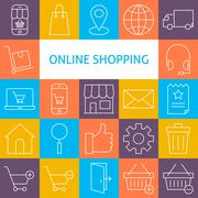 Stock Illustration of Vector Line Art Modern Online Shopping Icons Set