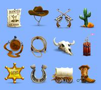 Stock Illustration of Wild West Icons Set