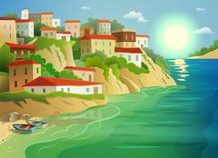Stock Illustration of Coastal sea village living colorful poster